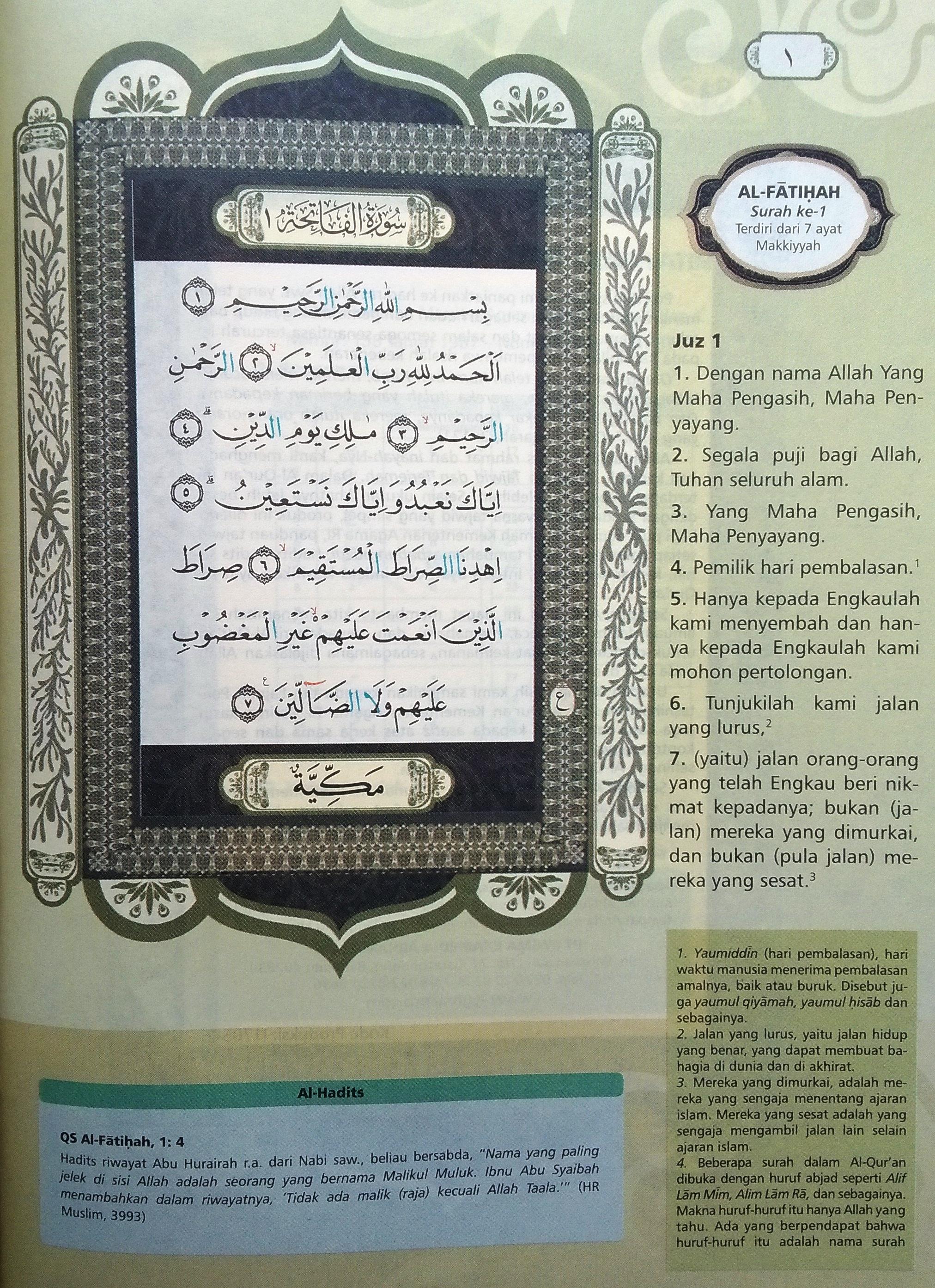 Al Fatihah Ayat 1 7 Hal 1 Quran Tajwid Dan Terjemahan